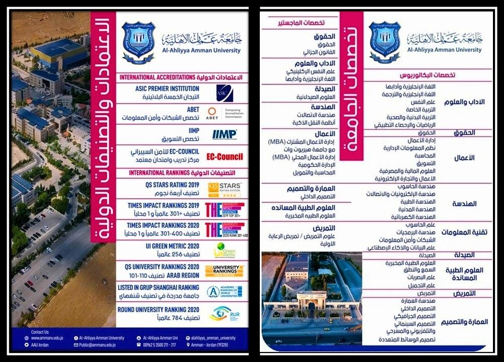 عمان الأهلية تعلن عن استمرار القبول والتسجيل لدرجتي البكالوريوس والماجستير للفصل الدراسي الاول للعام الجامعي 2020-2021