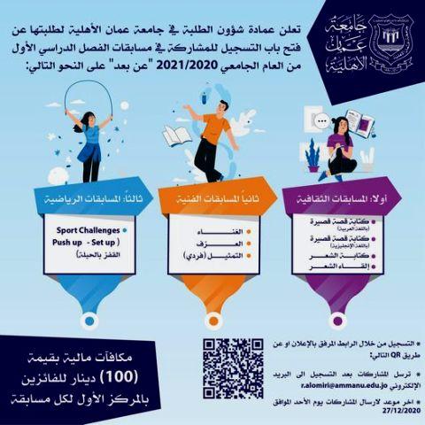 """عمان الأهلية تعلن عن مسابقات ثقافية وفنية ورياضية """"عن بعد"""""""