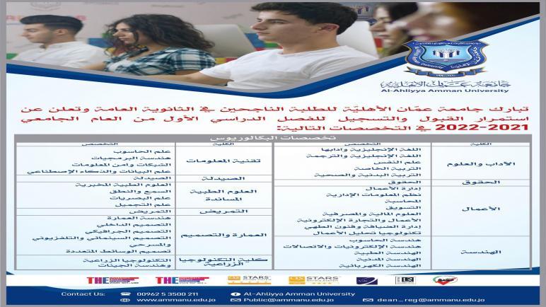 عمان الأهلية تعلن عن استمرار القبول والتسجيل في تخصصات درجة البكالوريوس للفصل الأول من العام الجامعي 2021-2022